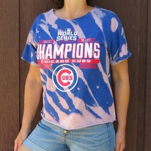 Cubs World Series Custom Bleach Crop Top sz M